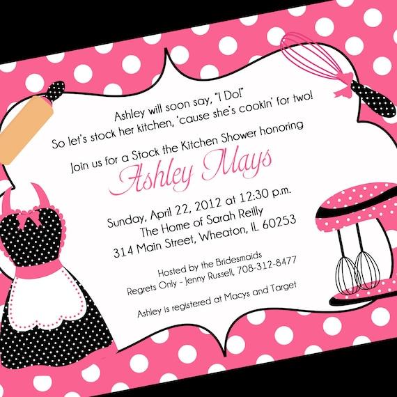 Kitchen Bridal Shower Invitation, Printable Invitation