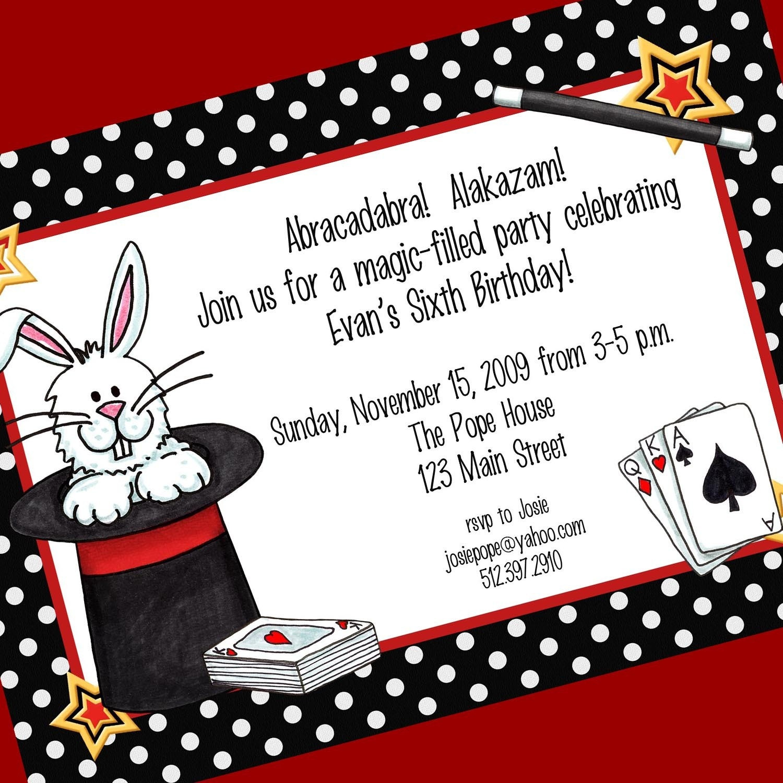 Magic Party Invitation Printable Invitation Design Custom