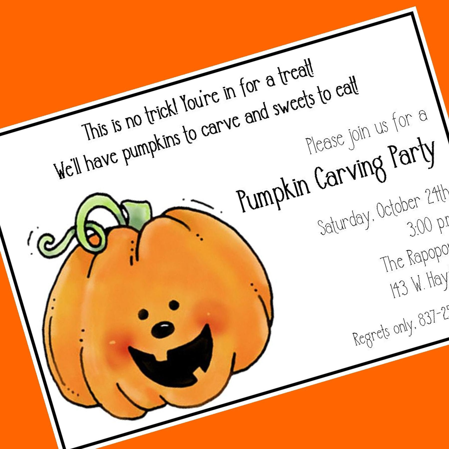 Pumpkin Carving Party Invitation Custom Wording 12