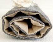 TREASURY ITEM tool roll - grey wool, linen and brown polka dot cotton