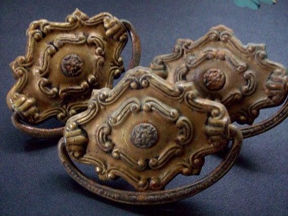 Vintage Hardware Drawer Pulls Distressed Patina Beautiful Detail