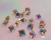 Last 12 pcs 4mm Crystal ab 4mm Squares Vintage Swarovski Crystal ab Squares Crystal AB Pointed Back Silver Foil 4mm Crystal ab