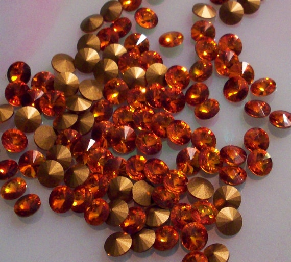 ReSeRvEd FoR - AnGiE 5 Sets Of 36 Pcs of Fireopal Vintage Swarovski Rivoli Rhinestones Size ss29 or 6 and a half mm 6.5mm rivoli