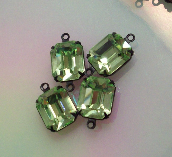 4 vintage swarovski chrysolite 12x10mm octagons in black brass 2 in 2 ring 12x10mm and 2 in 1 ring 12x10mm black and seafoam green