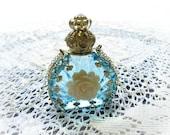 Glass Perfume Bottle Pendant Necklace Aqua Blue Creme Rose  Filigree Wrapped