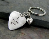 Guitar Pick Keychain Hand Stamped I Pick You Boyfriend Husband Gift Music Lover Musician Personalized Handstamped