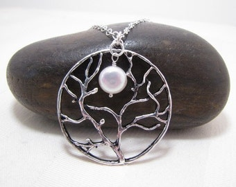 Tree And Moon Necklace-Tree Of Life Jewelry-Coin Pearl Necklace