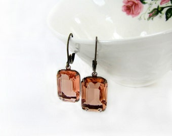 Coral Vintage Glass Jewel Earrings Estate Style