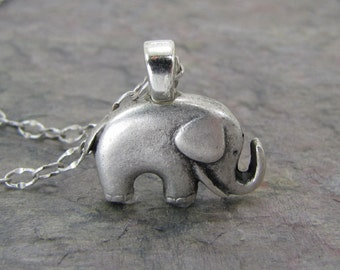Elephant Necklace Antiqued Silver Jewelry Good luck Charm