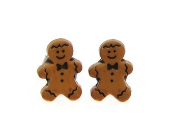 Gingerbread Man Earrings Christmas Cookie Earrings