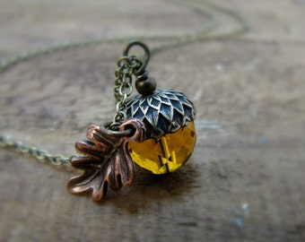 Acorn Necklace Glass Acorn And Oak Leaf Topaz Rustic Autumn Theme