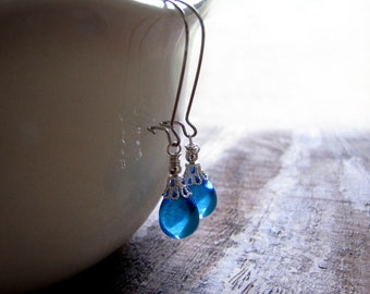 Aqua Blue Glass Teardrop Earrings