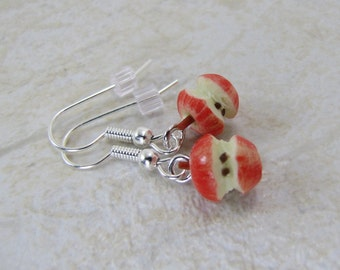 Red Apple Core Earrings