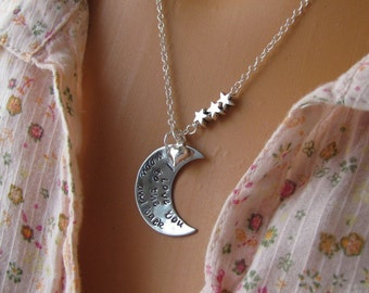 I Love You To The Moon And Back Necklace Hand Stamped Jewelry