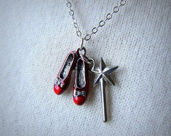 Red Ruby Slippers Wizard Of Oz Jewelry Dorothy Shoes Wand Charm Necklace