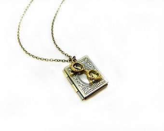 Book Locket And Glasses Necklace The Bookworm