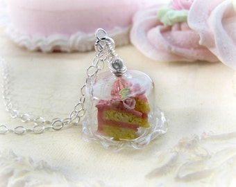 Miniature Cake Necklace, Pink Cake Jewelry, Miniature Food Jewelry