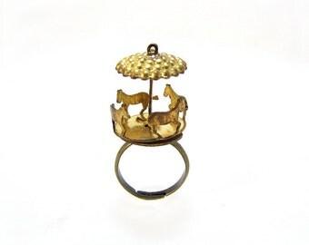 Carousel Horse Ring-Fidget Ring- Vintage Merry Go Round Ring-Spinning Charm-Fidget Spinner Ring