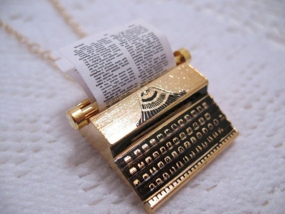 Typewriter Necklace 18K Gold Plated Brass