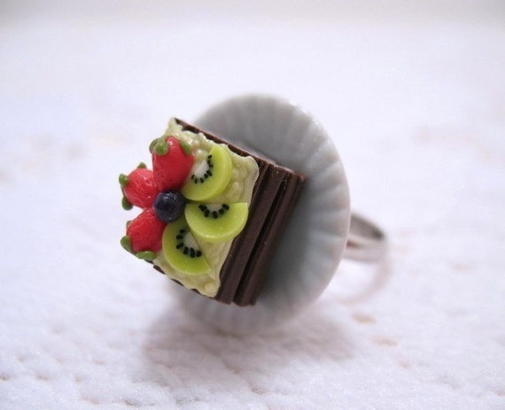 Chocolate Log Cake With Fruit Adjustable Ring by MapleMoonDesigns