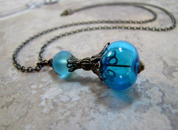 Aqua Glass Lampwork Hollow Pendant Necklace