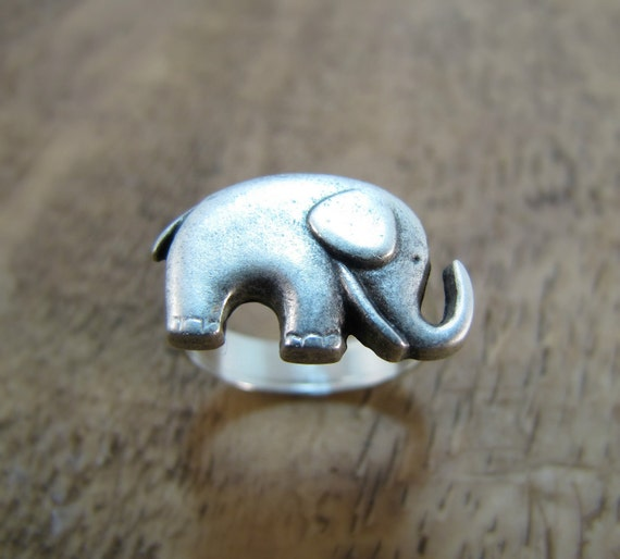 Elephant Ring Antiqued Silver Adjustable