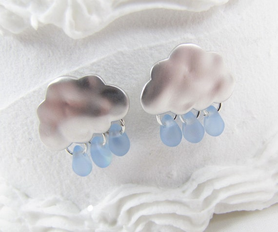 Clouds With Rain Drops Earrings Matte Silver