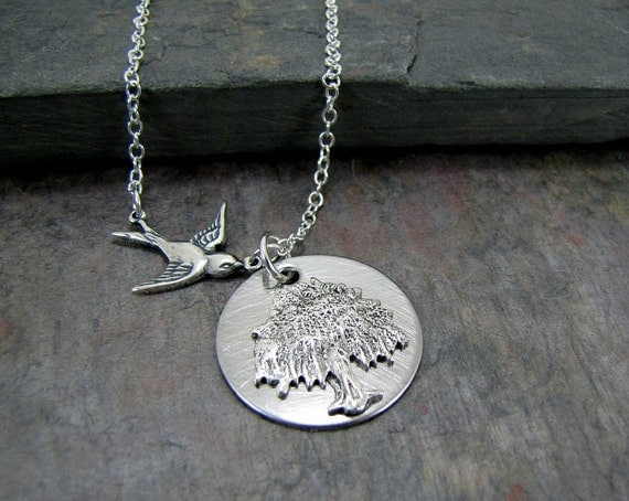 Weeping Willow Necklace Tree And Bird Jewelry
