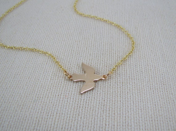 Dove Necklace Flying Bird Peace Love Jewelry
