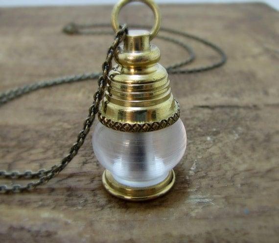Lantern Necklace, Nautical Jewelry,  Brass Lantern,  Oil Lamp, Ship Light Beacon,