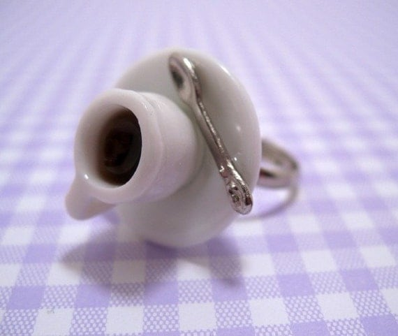 Cup Of Coffee Ring Miniature Food Jewelry