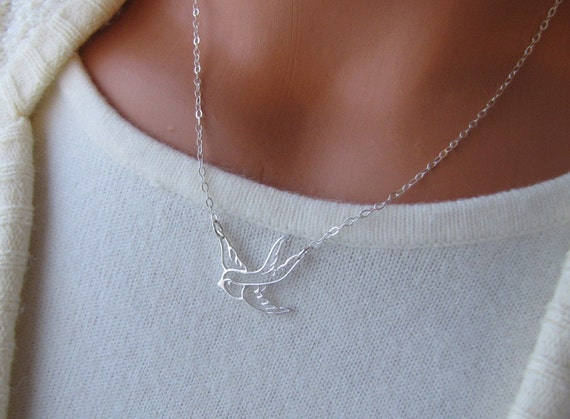 Bird Necklace Flying Swallow Filigree Sterling Silver Jewelry