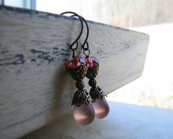 Frosted Glass Drops Earrings Amethyst Briolettes Berry Pink Purple