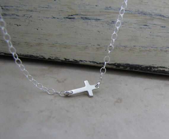 Tiny Cross Necklace-Small Sideways Cross Sterling Silver Necklace