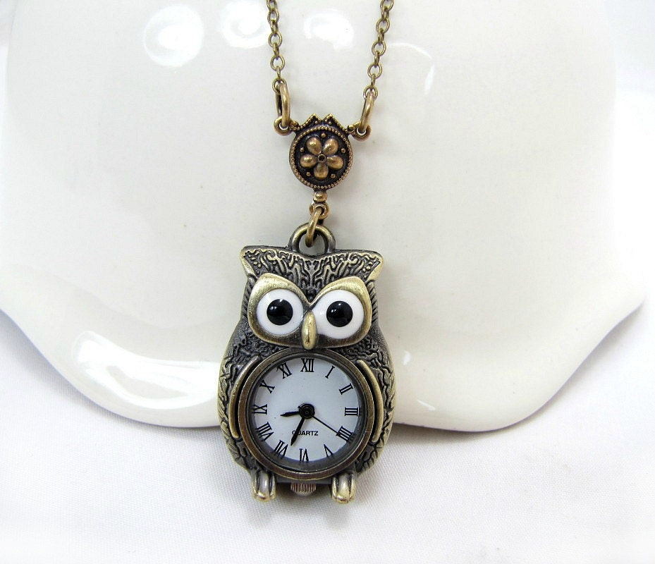 owl necklace owl clock timepiece jewelry by