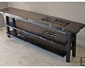 MSTRF / AD Block Series - 72Lx16Wx28H Entertainment/TV Console Abstract Modern Rusticwith 2 shelves / Dark Walnut Finish