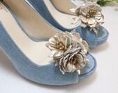 Light Gold leather flower cluster shoe clips