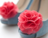 Chiffon Flower shoe clips in dark coral pink,guava