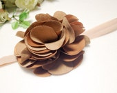 4 inches Tan Suede Flower elastic band-4 color choice