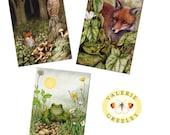 Fox, frog and owl postcard collection.