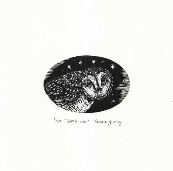 Barn Owl original  engraved print by Valerie Greeley