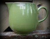 Green and White Vintage Cream Pitcher