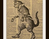DANCING CAT Art Print on GOLD GILDED Vintage Dictionary Page LARGE 8 x 10