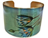 Bridal cuff bracelet wedding Bridesmaid gift  Blue Lotus (Symbolizes strength and love) Brass or steel Bridesmaids gift