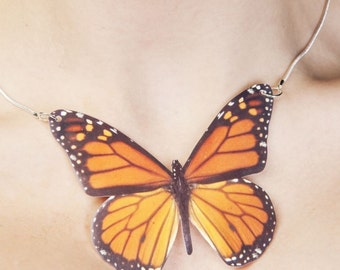 Necklace Monarch Butterfly Large or Small Pendant Necklace Cruelty Free Replica