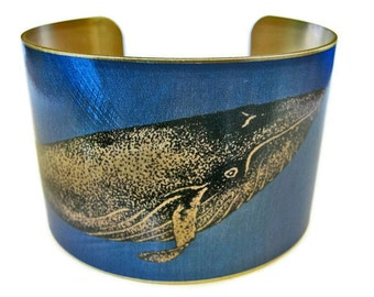 Whale cuff bracelet humpback brass or aluminum Gifts for her