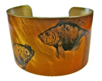 Goldfish cuff bracelet (As seen in Minnesota Monthly magazine) brass or aluminum Gifts for her