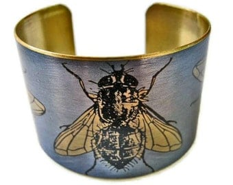 Cuff Bracelet Flies vintage insect illustration brass or aluminum Free Shipping to USA Gifts for her