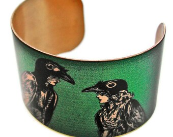 CROW Boy and CROW Girl cuff bracelet brass or aluminum Gifts for her