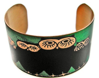 Owl Family cuff bracelet brass or aluminum Free Shipping to USA Gifts for her